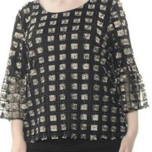 Calvin Klein Embroidered Bell Sleeve Blouse
